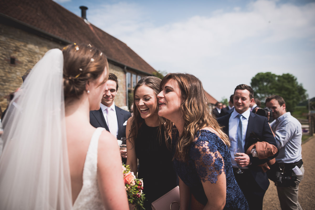 Grittenham Barn Wedding Photography   Hannah & Chris 17 Bride final touches 1