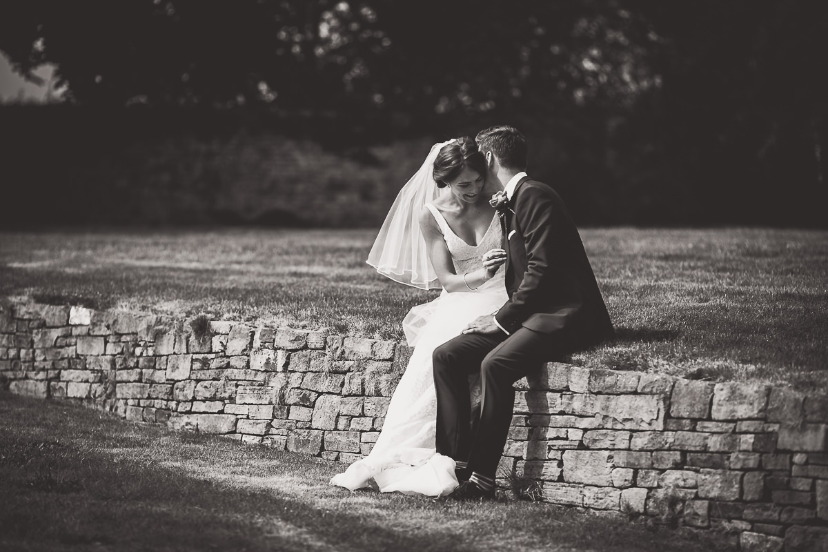 Grittenham Barn Wedding Photography   Hannah & Chris 25 The happy couple bw 1