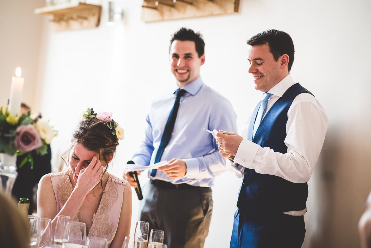 Millbridge Court Wedding Photography | Barbora & Matt 38 laughing wedding guest