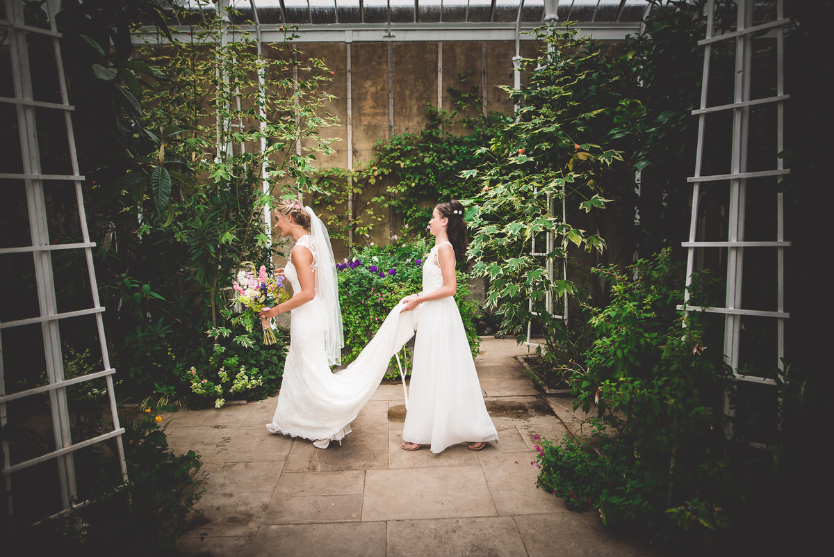 Bride in Wiston House conservatory