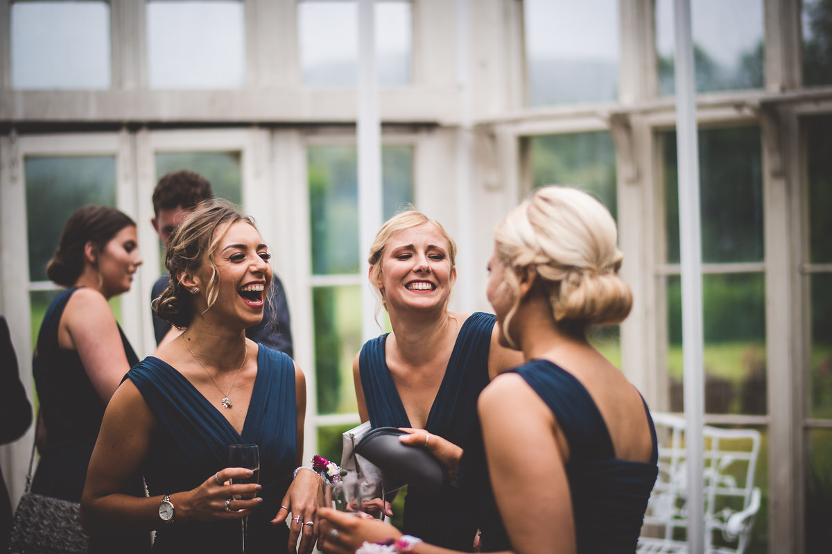 Bridesmaids in Wiston House conservatory